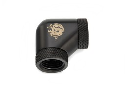 "Bitspower Carbon Black 90-Degree With Dual Rotary Inner G1/4"" Extender"