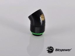 "Bitspower G1/4"" Matt Black Rotary 45-Degree IG1/4"" Extender"