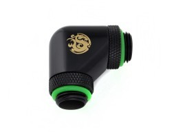 "Bitspower Matt Black 90-Degree With Dual Rotary G1/4"" Extender"