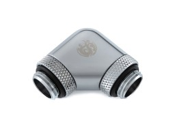 "Bitspower Silver Shining 90-Degree With Dual Rotary G1/4"" Extender"