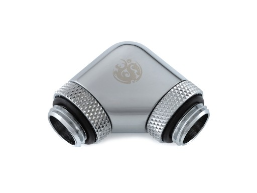 Bitspower Silver Shining 90-Degree With Dual Rotary G1/4