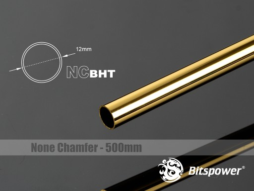 Bitspower None Chamfer Brass Hard Tubing OD12MM Golden - Length 500 MM