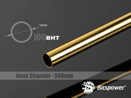 Bitspower None Chamfer Brass Hard Tubing OD14MM Golden - Length 500 MM