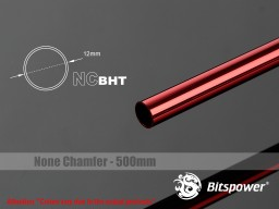 Bitspower None Chamfer Brass Hard Tubing OD12MM Deep Red - Length 500 MM