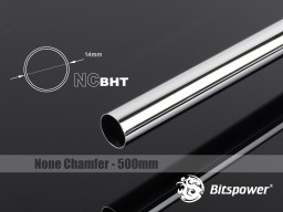 Bitspower None Chamfer Brass Hard Tubing OD14MM Shining Silver - Length 500 MM