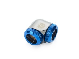 Bitspower Black Sparkle / Royal Blue Enhance 90-Degree Dual Multi-Link Adapter For OD 14MM