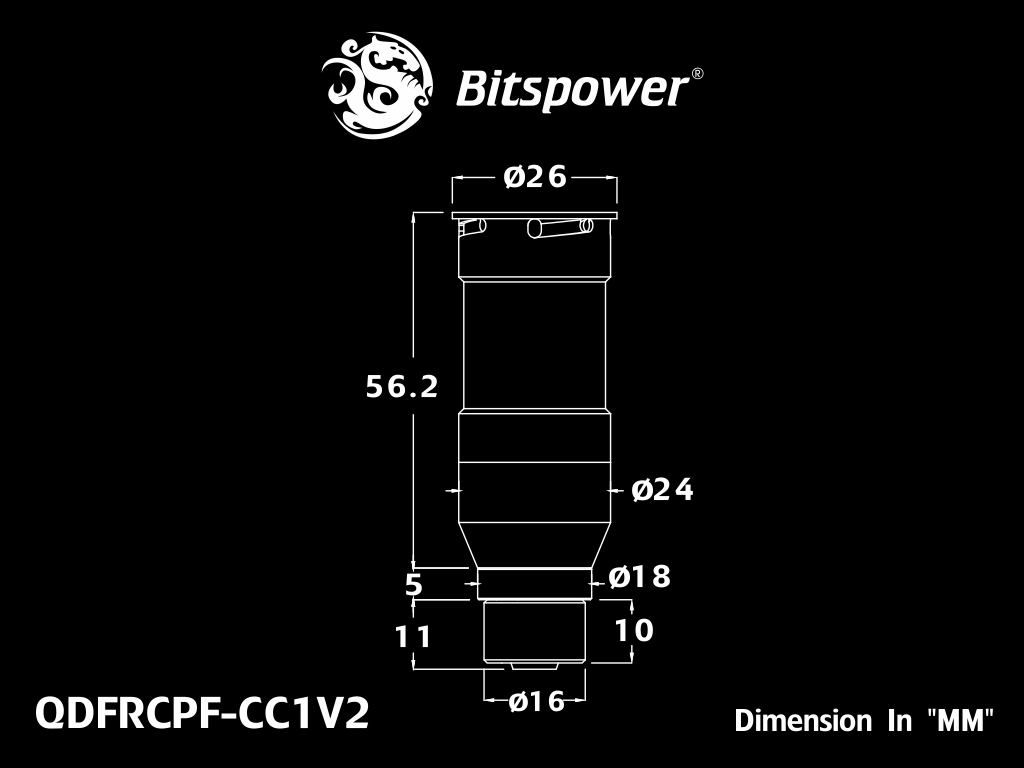 Bitspower Carbon Black Quick-Disconnected Female With Rotary Compression Fitting CC1 For ID 1/4