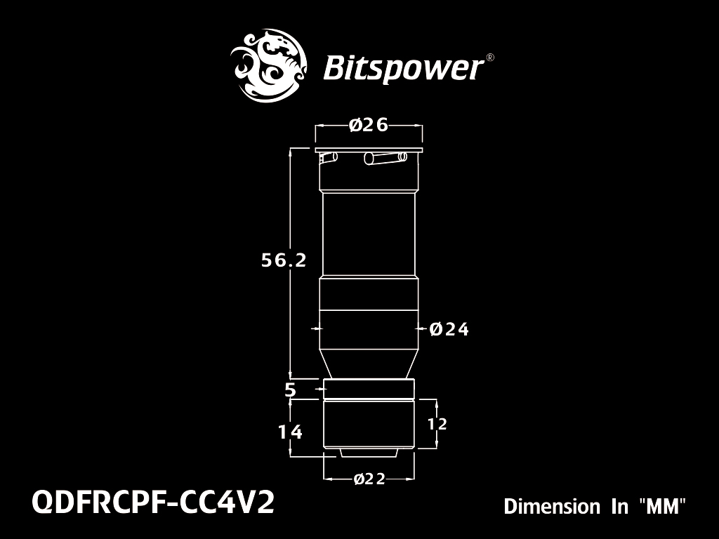 "Bitspower Carbon Black Quick-Disconnected Female With Rotary Compression Fitting CC4 For ID 1/2"" OD 5/8"" Tube"