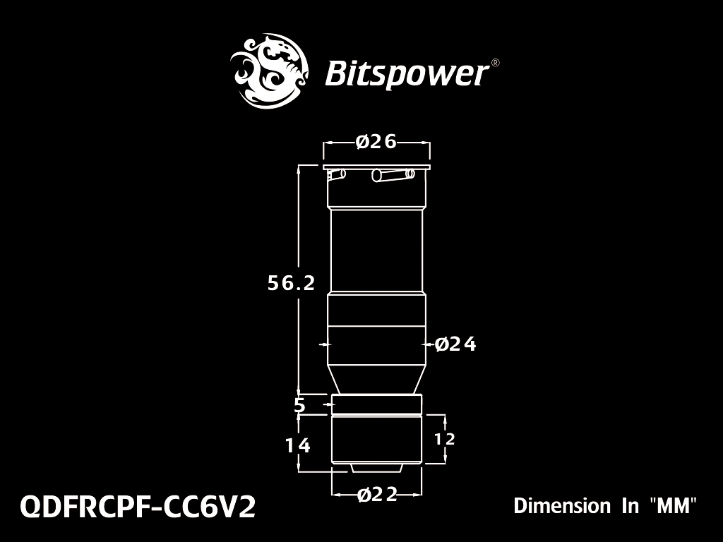 Bitspower Carbon Black Quick-Disconnected Female With Rotary Compression Fitting CC6 For ID 7/16