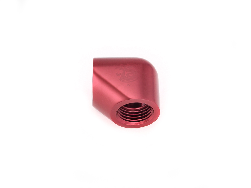"""Bitspower Deep Blood Red 90-Degree With Dual Inner G1/4"""" Extender"""