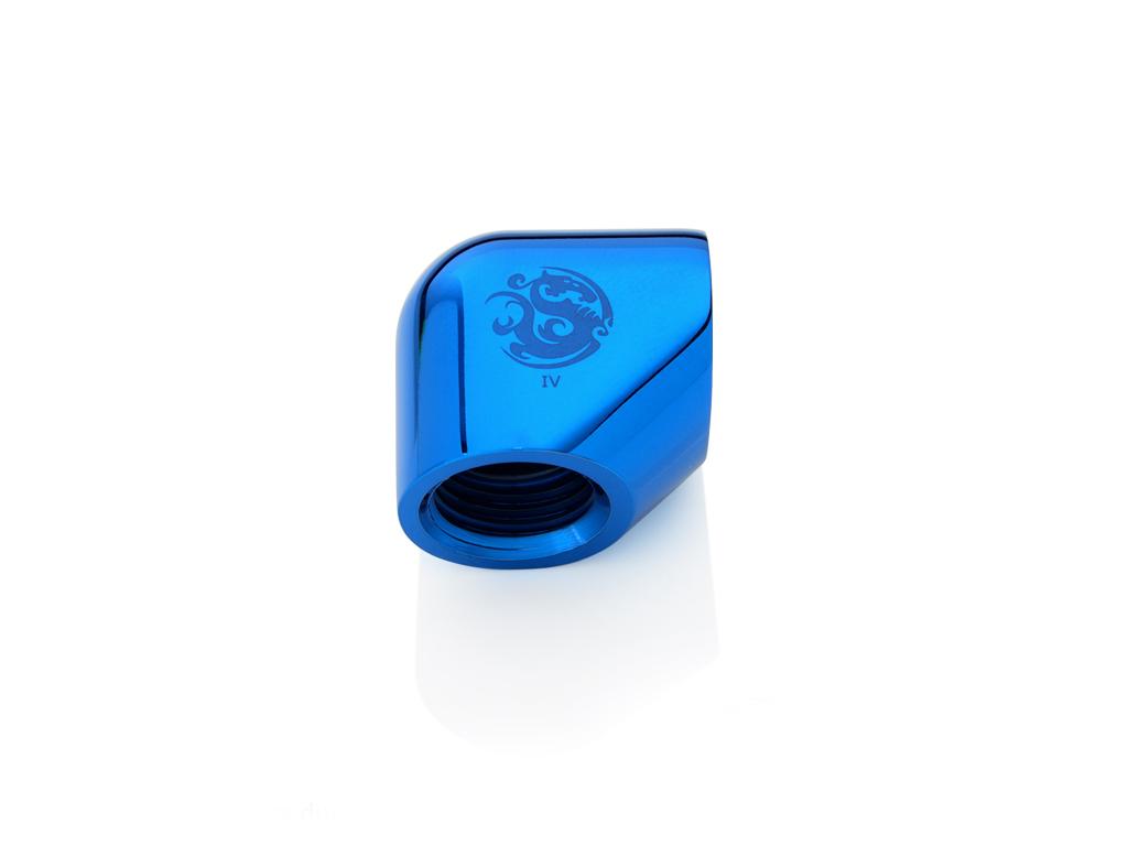 """Bitspower Royal Blue 90-Degree With Dual Inner G1/4"""" Extender"""