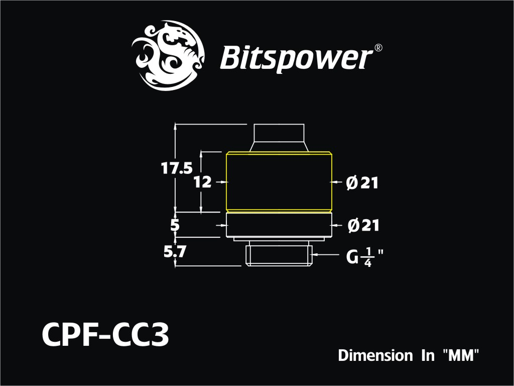 """Bitspower G1/4"""" True Brass Compression Fitting CC3 For ID 3/8"""" OD 5/8"""" Tube"""