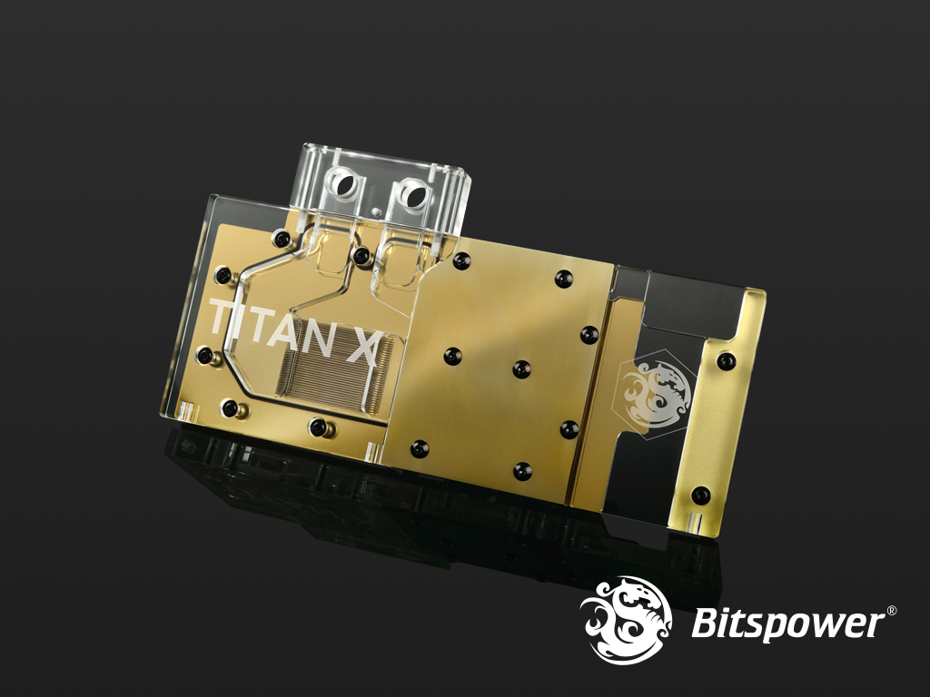Bitspower VG-NGTXTITANX Acrylic Nickel (Golden/Clear)
