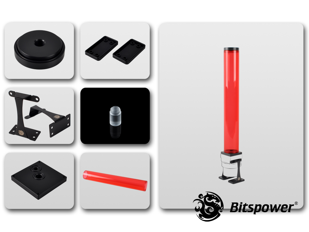 Dual/Single D5 Top Upgrade Kit 400 (ICE Red Tube+Black POM Cap)