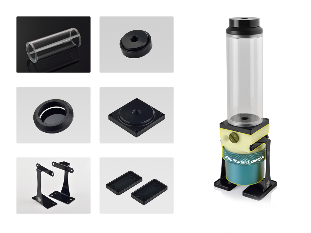 Bitspower Dual / Single D5 Top Upgrade Kit- Cascade Tube Effect 150 (Black Acrylic Cap/POM Version)