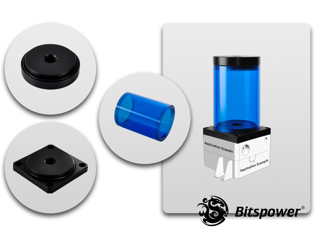 Bitspower DDC TOP Upgrade Kit 80(ICE Blue Body & Black POM Version)