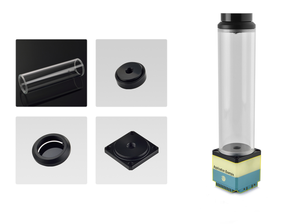Bitspower DDC Top Upgrade Kit- Cascade Tube Effect 200 (Black Acrylic Cap/POM Version)