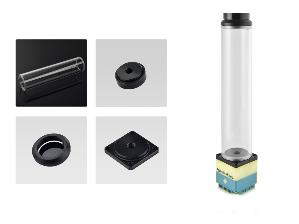 Bitspower DDC Top Upgrade Kit- Cascade Tube Effect 250 (Black Acrylic Cap/POM Version)