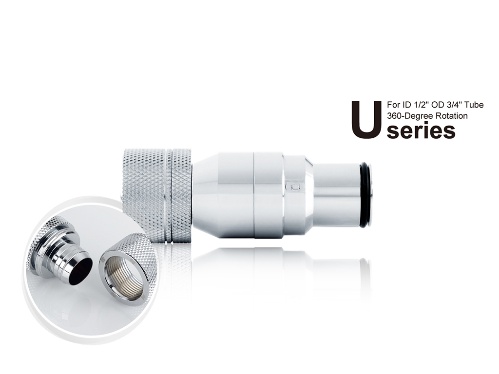 """Bitspower Silver Shining Quick-Disconnected Male With Rotary Compression Fitting CC5 Ultimate For ID 1/2"""" OD 3/4"""" Tube"""