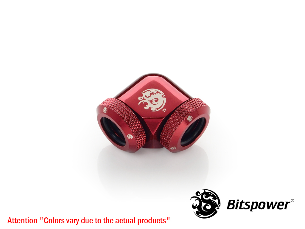Bitspower Deep Blood Red Enhance 90-Degree Dual Multi-Link Adapter(Silver Dragon) For OD 12MM