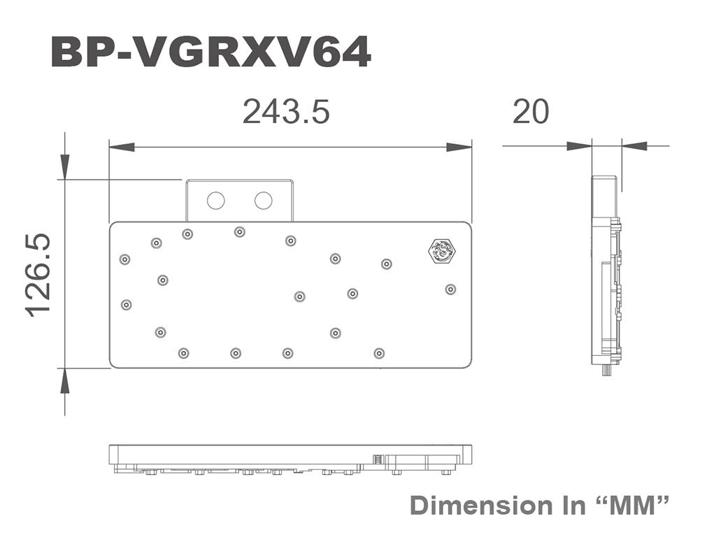 Bitpower VGA Block RX-VEGA64 RGB-Nickel-Acrylic