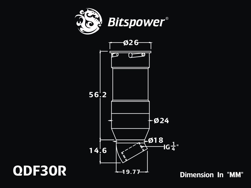 Bitspower Black Sparkle Quick-Disconnected Female With Rotary 30-Degree IG1/4