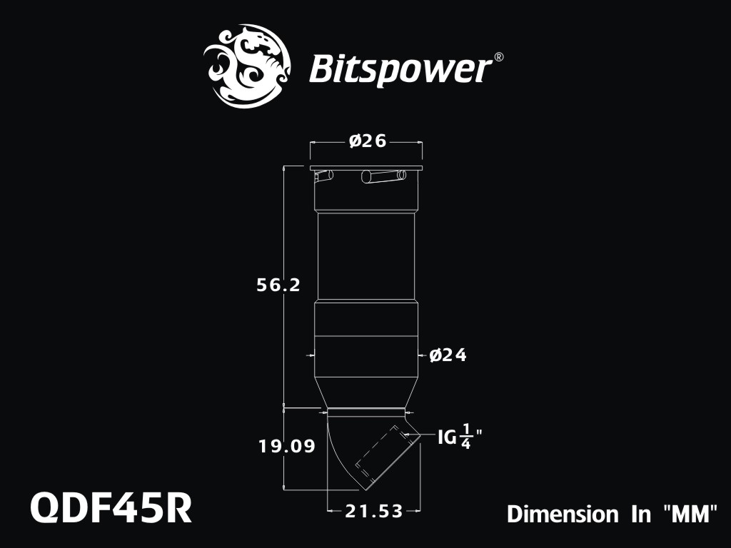 Bitspower Black Sparkle Quick-Disconnected Female With Rotary 45-Degree IG1/4