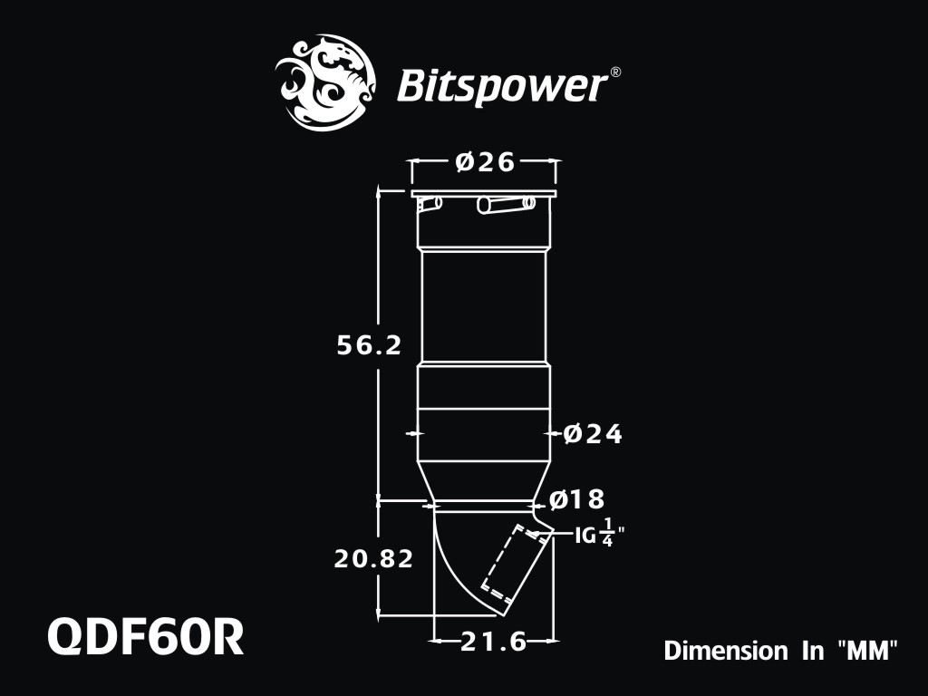 Bitspower Black Sparkle Quick-Disconnected Female With Rotary 60-Degree IG1/4