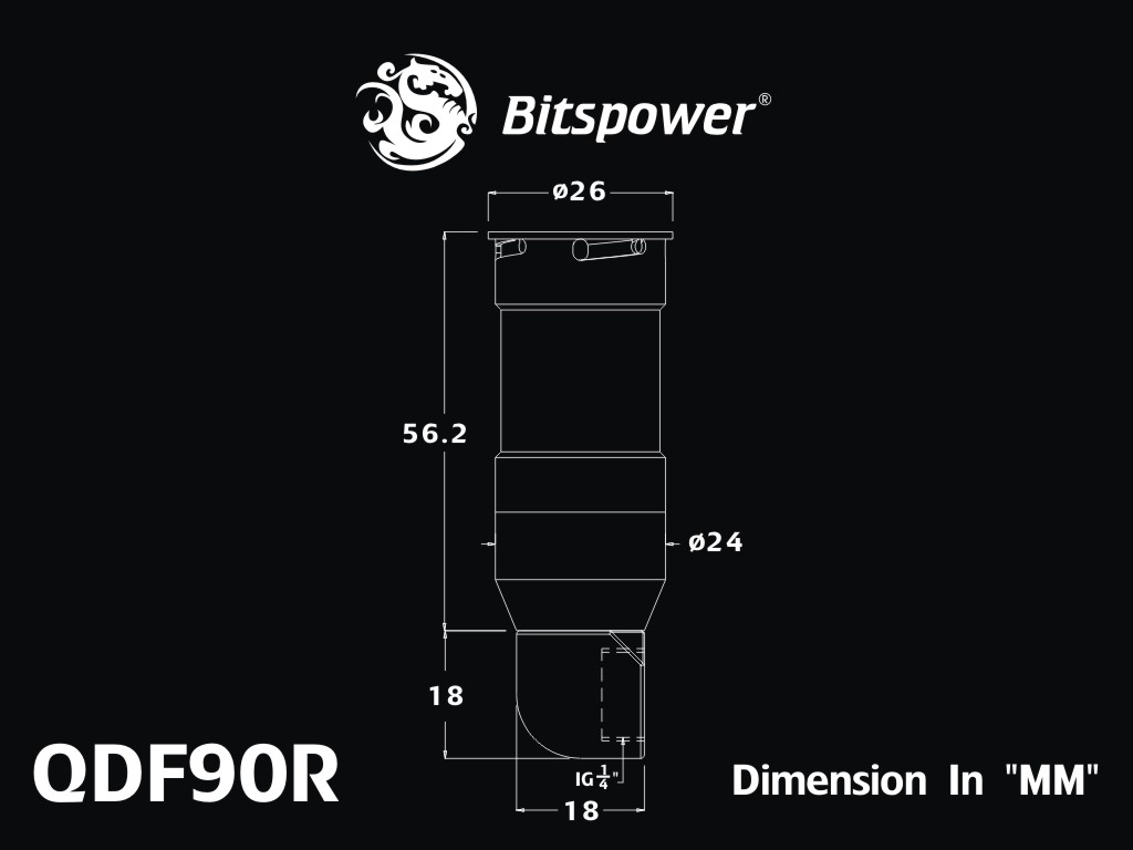 Bitspower Black Sparkle Quick-Disconnected Female With Rotary 90-Degree IG1/4