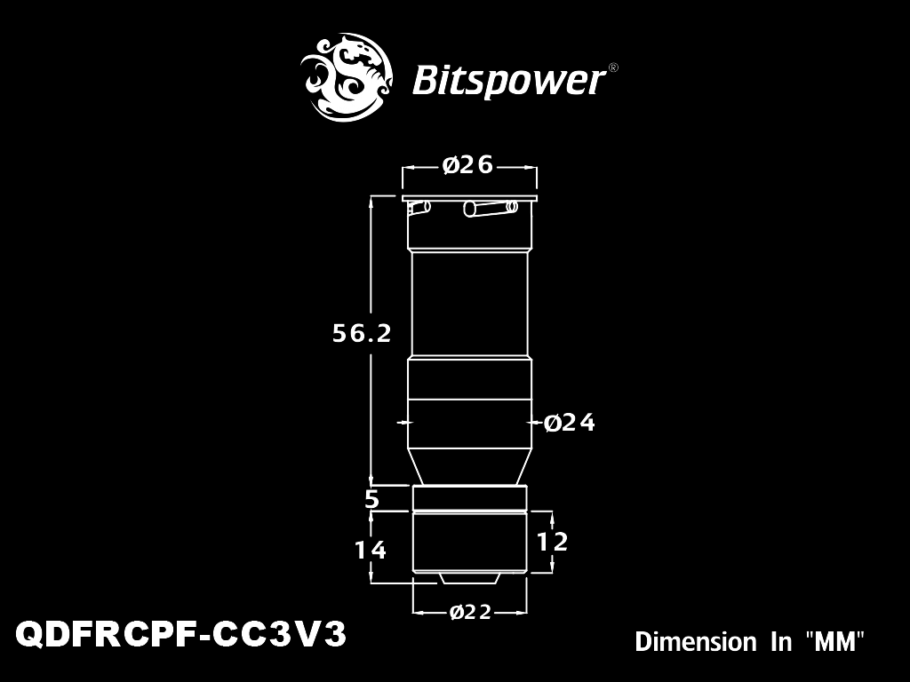 Bitspower Black Sparkle Quick-Disconnected Female With Rotary Compression Fitting CC3 For ID 3/8