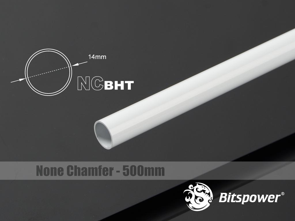 Bitspower None Chamfer Brass Hard Tubing OD14MM Deluxe White - Length 500 MM
