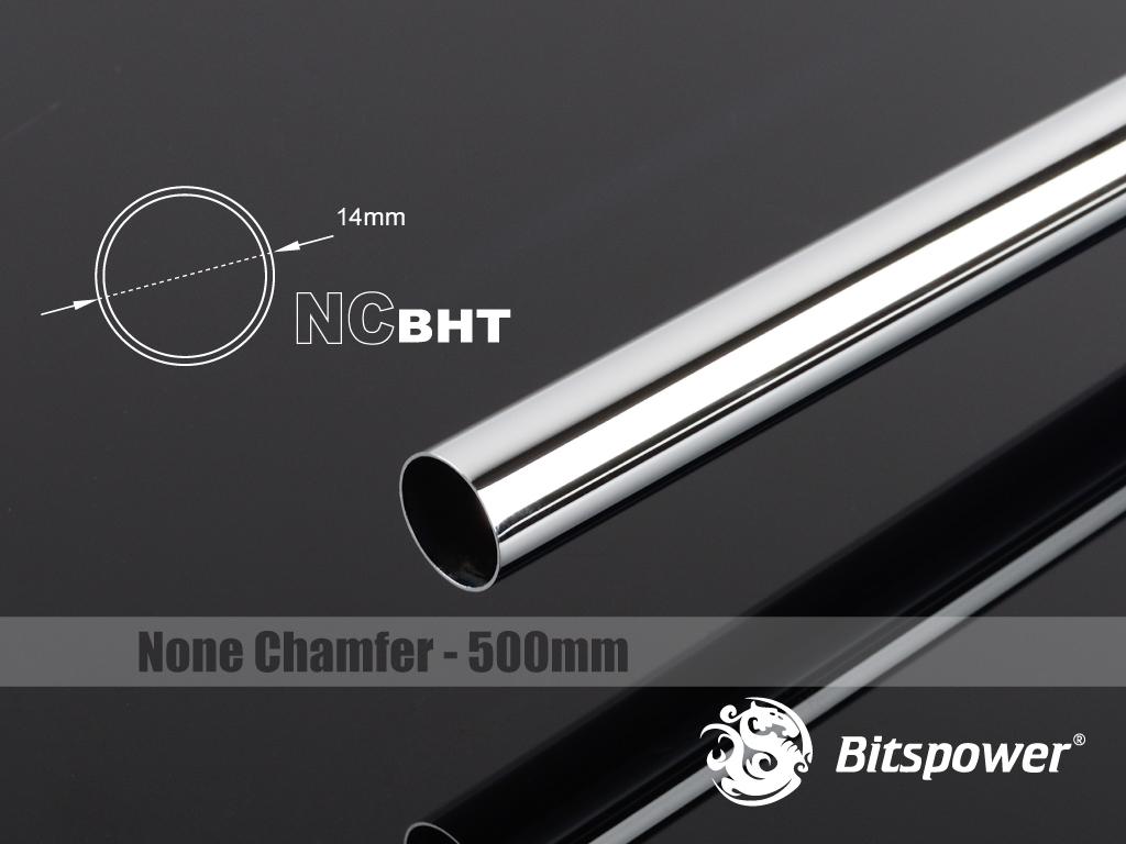 Bitspower None Chamfer Brass Hard Tubing OD14MM Shining Silver - Length 500 MM