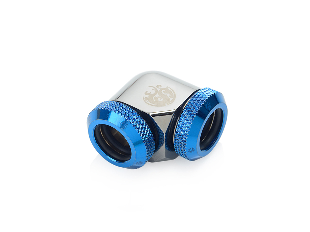 Bitspower Black Sparkle / Royal Blue Enhance 90-Degree Dual Multi-Link Adapter For OD 12MM